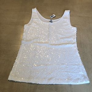 NWT Old Navy white tank top with sequins
